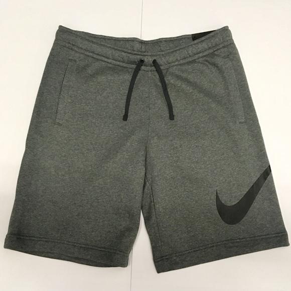 Charcoal Heather Nike Swoosh Mens Cotton Shorts